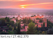 Купить «Alhambra at sunset in Granada, Andalusia, Spain», фото № 27462370, снято 13 июля 2020 г. (c) Коваленкова Ольга / Фотобанк Лори