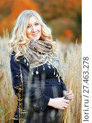 Купить «Девушка в полях», эксклюзивное фото № 27463278, снято 8 октября 2017 г. (c) Инна Козырина (Трепоухова) / Фотобанк Лори