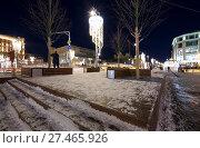 Купить «Christmas (New Year holidays) decoration Lubyanskaya (Lubyanka) Square in the evening, Moscow, Russia», фото № 27465926, снято 9 января 2018 г. (c) Владимир Журавлев / Фотобанк Лори