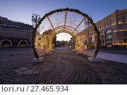 Купить «Christmas (New Year holidays) decoration Lubyanskaya (Lubyanka) Square in the evening, Moscow, Russia», фото № 27465934, снято 9 января 2018 г. (c) Владимир Журавлев / Фотобанк Лори