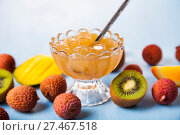 Купить «Jam of tropical fruits», фото № 27467518, снято 20 января 2018 г. (c) Елена Блохина / Фотобанк Лори
