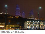 Купить «Вид на Пламенные башни декабрьским вечером. Баку», фото № 27468082, снято 30 декабря 2017 г. (c) Виктор Карасев / Фотобанк Лори