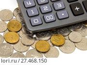 Купить «Калькулятор и монеты», эксклюзивное фото № 27468150, снято 20 февраля 2016 г. (c) Юрий Морозов / Фотобанк Лори