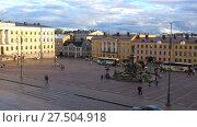 Купить «Сентябрьский облачный вечер на Сенатской площади. Хельсинки, Финляндия», видеоролик № 27504918, снято 16 сентября 2017 г. (c) Виктор Карасев / Фотобанк Лори