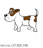 Купить «Cute dog on a white background», иллюстрация № 27505198 (c) Сергей Лаврентьев / Фотобанк Лори