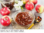 Купить «Яблочный джем в стеклянной миске. Домашние заготовки», фото № 27507262, снято 26 ноября 2017 г. (c) Надежда Мишкова / Фотобанк Лори