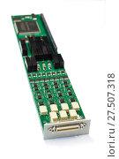 Купить «Electronic board with installed electronic components.», фото № 27507318, снято 19 октября 2017 г. (c) Андрей Радченко / Фотобанк Лори