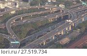 Купить «Aerial view of traffic junction cross road», видеоролик № 27519734, снято 22 января 2018 г. (c) Михаил Коханчиков / Фотобанк Лори
