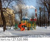 Купить «Детская игровая площадка. Мемориально-парковый комплекс. Район Лефортово. Город Москва», эксклюзивное фото № 27520986, снято 25 января 2018 г. (c) lana1501 / Фотобанк Лори
