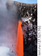 Купить «RF - Hot lava from the 61G flow from Kilauea Volcano entering the Pacific Ocean from the open end of a lava tube at the Kamokuna entry in Hawaii Volcanoes...», фото № 27521102, снято 19 сентября 2018 г. (c) Nature Picture Library / Фотобанк Лори
