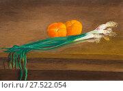Купить «Натюрморт. Зеленый лук и два помидора на столе», иллюстрация № 27522054 (c) Олег Хархан / Фотобанк Лори