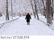 Купить «Снегопад в Москве. Женщина идет по заснеженной тропинке», эксклюзивное фото № 27526574, снято 31 января 2018 г. (c) Илюхина Наталья / Фотобанк Лори