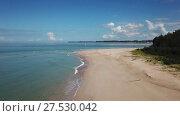 Купить «Aerial video of deserted beach cape and calm sea», видеоролик № 27530042, снято 20 января 2018 г. (c) Михаил Коханчиков / Фотобанк Лори