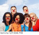 Купить «international group of happy women at red nose day», фото № 27534718, снято 18 марта 2017 г. (c) Syda Productions / Фотобанк Лори