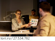 Купить «workers with user interface mockup late at office», фото № 27534782, снято 26 ноября 2017 г. (c) Syda Productions / Фотобанк Лори