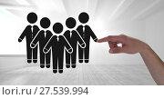 Купить «Hand pointing at business people group icon», фото № 27539994, снято 20 марта 2019 г. (c) Wavebreak Media / Фотобанк Лори