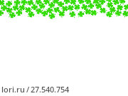 Купить «День святого Патрика. Фон-бордюр с листьями счастливого клевера-четырехлистника изолированно на белом фоне», фото № 27540754, снято 3 марта 2017 г. (c) Зезелина Марина / Фотобанк Лори
