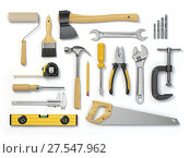 Купить «Set of tools isolated on white background. Hammer, screwdriver, brush, spanner pliers, measure tape.», фото № 27547962, снято 22 апреля 2018 г. (c) Maksym Yemelyanov / Фотобанк Лори