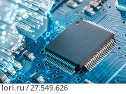 Купить «Close-up of electronic circuit board», фото № 27549626, снято 4 февраля 2018 г. (c) Александр Якимов / Фотобанк Лори
