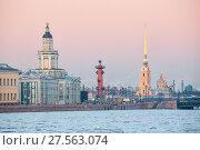 Купить «View of the embankment of St. Petersburg», фото № 27563074, снято 31 января 2018 г. (c) Юлия Бабкина / Фотобанк Лори