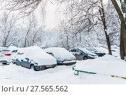 Купить «Засыпанные снегом машины во дворе после снегопада. Москва», фото № 27565562, снято 31 января 2018 г. (c) Алёшина Оксана / Фотобанк Лори