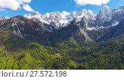 Купить «Aerial view on mountains in Triglav national park», видеоролик № 27572198, снято 17 июня 2017 г. (c) Михаил Коханчиков / Фотобанк Лори