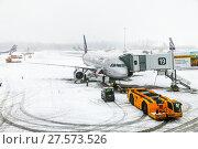 Купить «Aeroflot Airbus A320», фото № 27573526, снято 3 февраля 2018 г. (c) Art Konovalov / Фотобанк Лори