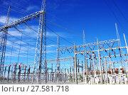 Купить «high-voltage substation on blue sky», фото № 27581718, снято 21 мая 2018 г. (c) PantherMedia / Фотобанк Лори
