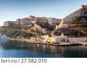 Купить «Bonifacio landscape in morning, Corsica», фото № 27582010, снято 3 июля 2015 г. (c) EugeneSergeev / Фотобанк Лори