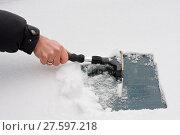 Купить «hand with ice scraper», фото № 27597218, снято 15 августа 2018 г. (c) PantherMedia / Фотобанк Лори