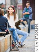 Купить «Jealous teen and his friends after conflict», фото № 27606986, снято 18 января 2019 г. (c) Яков Филимонов / Фотобанк Лори