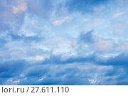 Купить «dense blue clouds in twiling sky in winter», фото № 27611110, снято 22 июля 2019 г. (c) PantherMedia / Фотобанк Лори