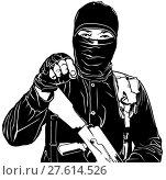 Купить «Terrorist in Black», иллюстрация № 27614526 (c) PantherMedia / Фотобанк Лори