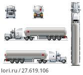 Купить «Vector realistic tunker truck template isolated on white», иллюстрация № 27619106 (c) Александр Володин / Фотобанк Лори