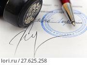Купить «Ручка, печать и подпись на документах», эксклюзивное фото № 27625258, снято 9 февраля 2018 г. (c) Юрий Морозов / Фотобанк Лори