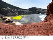 Купить «green lagoon at el golfo,lanzarote,canary islands», фото № 27625914, снято 22 апреля 2019 г. (c) PantherMedia / Фотобанк Лори