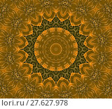 Купить «Abstract geometric seamless background. Ornate concentric circle ornament in orange, golden, ocher and dark brown shades with white outlines.», фото № 27627978, снято 20 июля 2018 г. (c) PantherMedia / Фотобанк Лори