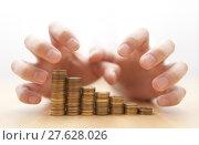 Купить «Greed for money. Hands grabbing coins. », фото № 27628026, снято 23 марта 2018 г. (c) PantherMedia / Фотобанк Лори