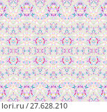 Купить «Abstract geometric seamless background. Ornate zigzag pattern with elements in white, yellow, pink, violet, turquoise and mint green on light gray. Various elements, extensive and dreamy.», фото № 27628210, снято 24 мая 2018 г. (c) PantherMedia / Фотобанк Лори