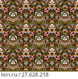 Купить «Abstract geometric seamless background. Extensive zigzag pattern olive green with various multicolored elements in yellow, magenta, white and dark green shades. », фото № 27628218, снято 19 октября 2018 г. (c) PantherMedia / Фотобанк Лори