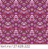 Купить «Abstract geometric seamless background. Extensive zigzag pattern dark red with various multicolored elements in pink, violet, purple, lime green and light gray.», фото № 27628222, снято 19 октября 2018 г. (c) PantherMedia / Фотобанк Лори