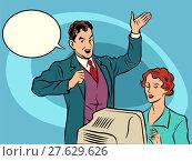 Купить «Retro businessman policies Secretary dictates the text», фото № 27629626, снято 20 мая 2019 г. (c) PantherMedia / Фотобанк Лори