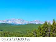Купить «Dense Forest and Mountain Range», фото № 27630186, снято 22 июля 2019 г. (c) PantherMedia / Фотобанк Лори