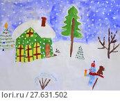 Купить «childish drawing of fabulous snowman and house», фото № 27631502, снято 21 мая 2018 г. (c) PantherMedia / Фотобанк Лори