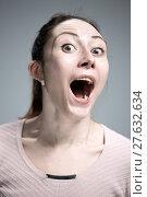 Купить «Portrait of young woman with shocked facial expression», фото № 27632634, снято 24 марта 2019 г. (c) PantherMedia / Фотобанк Лори