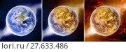 Купить «Meteorite impact on a planet in space», фото № 27633486, снято 19 февраля 2018 г. (c) PantherMedia / Фотобанк Лори
