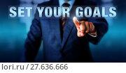 Купить «Business Coach Touching SET YOUR GOALS», фото № 27636666, снято 24 апреля 2019 г. (c) PantherMedia / Фотобанк Лори