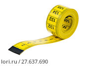 Купить «Isolated yellow measuring tape», фото № 27637690, снято 18 июля 2018 г. (c) PantherMedia / Фотобанк Лори