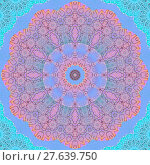 Купить «Abstract geometric seamless background. Floral circle ornament in pink, orange, violet, purple, blue and turquoise shades. Delicate, ornate and dreamy concentric pattern.», фото № 27639750, снято 21 октября 2018 г. (c) PantherMedia / Фотобанк Лори