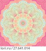 Купить «Geometric seamless background. Floral circle ornament in pink, violet, purple, blue and pale green shades. Delicate, ornate and dreamy abstract blossom.», фото № 27641014, снято 22 мая 2018 г. (c) PantherMedia / Фотобанк Лори